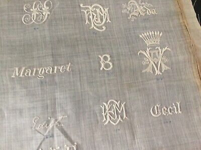 Antique whitework embroidered advertising sampler - fancy initials, names