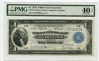 1918 $1 Federal Reserve Bank Note San Francisco (Extremely Fine 40 EPQ) PMG