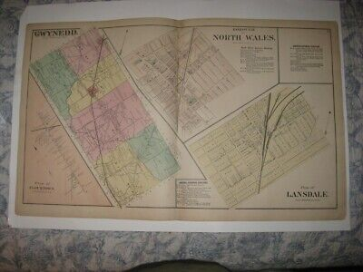 Antique 1871 Upper Lower Gwynedd Township North Wales Lansdale Pennsylvania Map