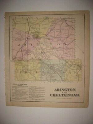 Antique 1871 Abington Cheltenham Township Jenkintown Ashbourne Pennsylvania Map