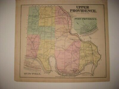 Antique 1871 Upper Providence Township Montgomery County Pennsylvania Map Fine