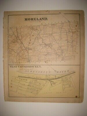 Antique 1871 Upper Lower Moreland Township Hatboro Willow Grove Pennsylvania Map