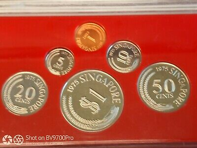 1975 Singapore Proof Coin set, in wooden boz w/ COA # 2540 of 3000