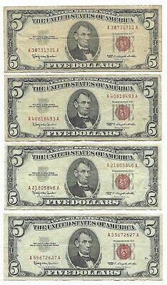 4 X $5 1963  Red Seal