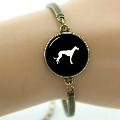 Bronze Bracelet with Black and White Greyhound Silhouette Cabochon