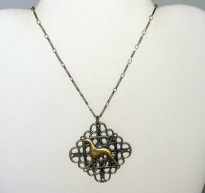 Brass Filigree Pendant Necklace w Greyhound or Whippet Dog Silhouette