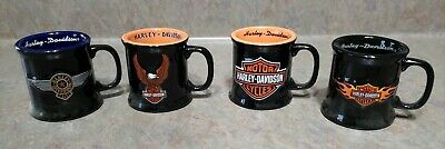 Harley Davidson Miniature 2oz Mug Shot Glasses Lot Of 4 Gift Set Black Ceramic