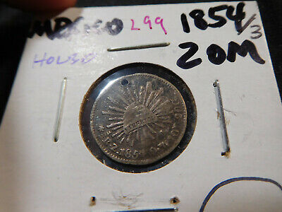 "L99 Mexico 1854 Overdate ""3""-Zacatecas 1/2 Real Holed"