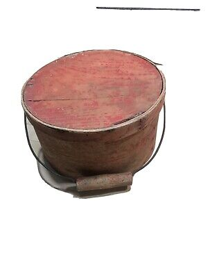 Antique Wood Wire Bail Handle Pantry Box Red Paint