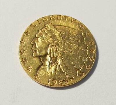 1929 U.S. $2.50 Gold Coin * Indian Head * Circulated * Better Grade * No Reserve