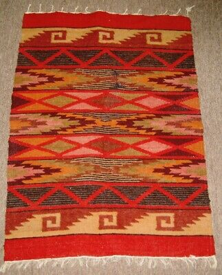 """Meso   American child's blanket  woven early 20th c. wool & cotton 24 1/2"""" x 36"""""""