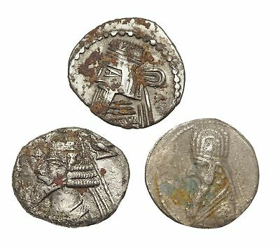 KINGS of PARTHIA. 2nd Century AD, Lot of 3 Silver Drachms