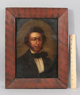 19thC Antique American Folk Art Portrait Tin Painting, Red & Black Painted Frame