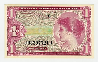 Series 641 $1 United States Military Payment Certificate AU