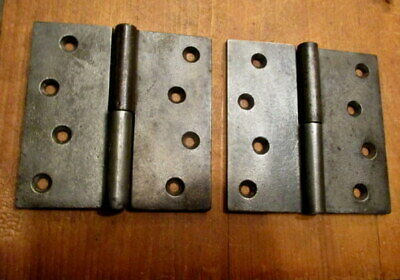 """Pair Early Iron Door Hinges 4.5"""" x 4.5"""" L H Lift Off Hinge"""