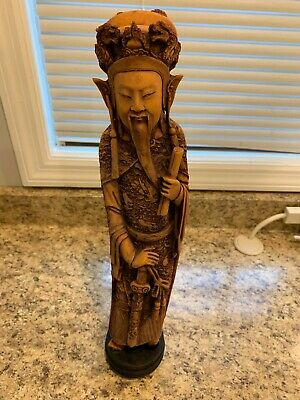 Antique Oriental Asian Hand Carved Intricate Wooden Statue