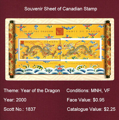 "CANADA STAMP - Year 2000 ""Year of the Dragon"" Souvenir Sheet, MNH, VF"