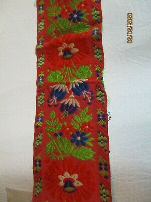 """Antique Bright Red Colorful Floral Woven Silk Ribbon 2 1/4 """" x 66"""" Oriental Desi"""