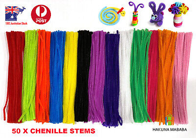 50 PCS Craft Pipe Cleaners Sticks Chenille Stems 13 Assorted Plain Colours 30cm