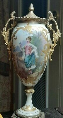 EPIC- 19th Century French Sevres Lidded Porcelain Urn, Signed Aly. HANDPAINTED!!