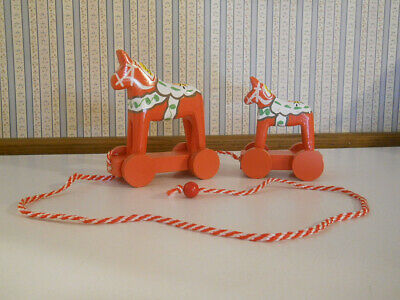 Dala Horses (2) wooden pull toy made in Sweden                          N