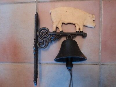Vintage Large Very Heavy Cast Metal Pig Bell With Clanger And Lanyard Attachment