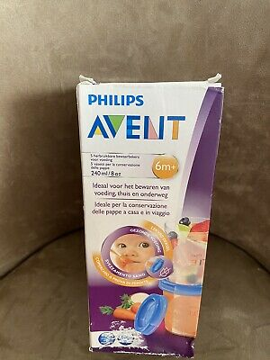 Avent Food Storage Cups Reusable 240ml 6 Months + 5 Cups