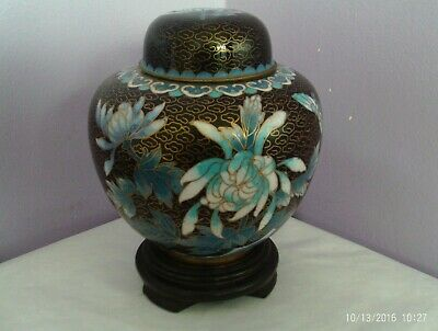 Fabulous Vintage Chinese Cloisonne On Brass Flowers & Butterfly Ginger Jar Pot
