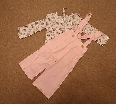 Girls Pink 2pcs Long Trouser + Top Outfit Floral Age 2 Years