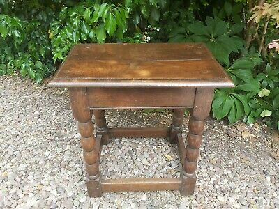 Antique Oak Bobbin Turned Leg Joint Stool Occasional Coffee / Lamp Table