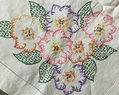 """Large Vintage Hand Embroidered Linen Tablecloth 52"""" x 53"""" very pretty"""