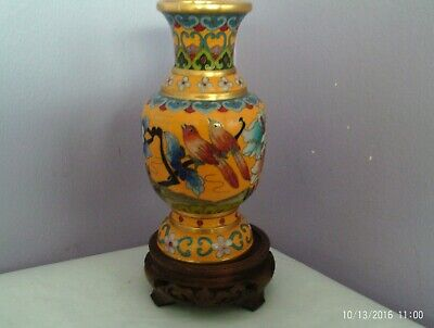 Fab Vintage Chinese Cloisonne On Brass Many Birds & Flowers Vase 16.5 Cms Tall