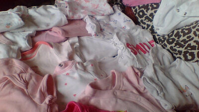 Job Lot of Baby Girls Long Sleeved short bundle vests newborn to 3 mth mixed lot