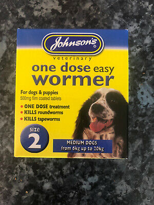 Johnsons One Dose Easy Wormer for  Medium from 6kg to 20kg Size 2