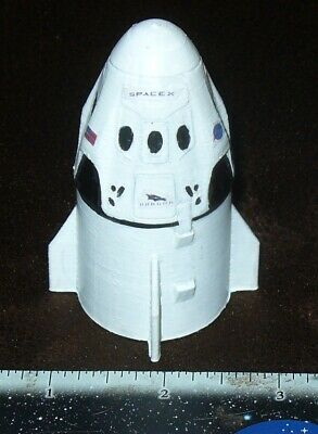 rare 3D printed NASA Space X Dragon Crew Capsule & Service module hand painted