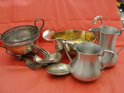 Joblot collection of Silver Plate cutlery, sauce boat, bowl, Pewter milk jug etc