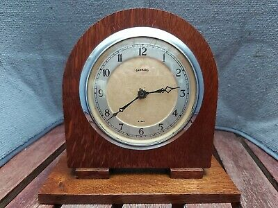 Garrard Art Deco Oak Wood Wind Up Mantel Clock 8 Day