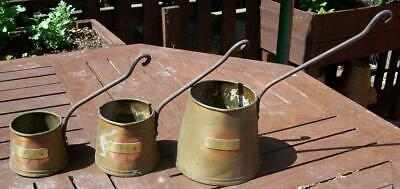 3 Copper Cider Measures. 2 Pint, 1 Pint & ¾ Pint. With Iron Handles.