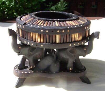 3 Ebony Elephants Supporting Porcupine Quill Bowl. A/F.