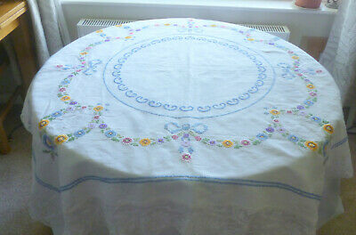 Beautiful Hand Embroidered Petit Point Vintage Tablecloth