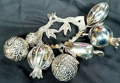 Vintage Gerson Silver Plated Hanging Christmas Decoration Hanging Gourds & Fruit