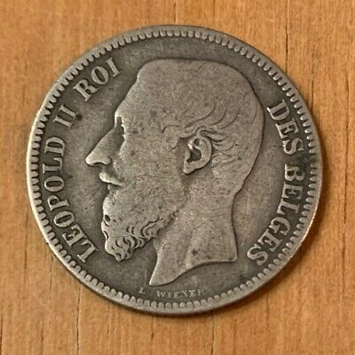 1866 Léopold II Belgian Silver 2 Francs KM# 30.1 - Old French Coin - 2F