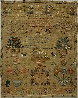"Early 20Th Century Verse & Motif ""Gift"" Sampler By Eveleen Perkins - 1909"