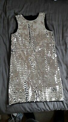 George Girls Silver Sequin Dress Age 13-14 Years