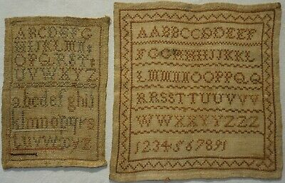 TWO SMALL MID 19TH CENTURY ALPHABET SAMPLERS - c.1860