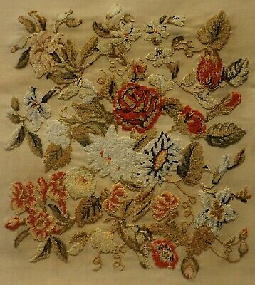 MID/LATE 19TH CENTURY NEEDLEPOINT OF A FLORAL SPRAY - c.1870