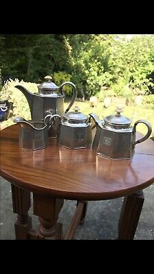 Antique 19th Cent Russian 1862 Solid Silver 4 Piece Tea Set Pot Bowl Jug Coffee