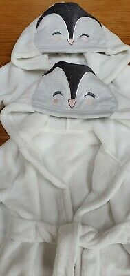 Baby Girl Twin Penguin Dressing Gowns Robes 6-9 months
