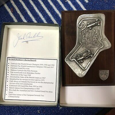 Silverstone 50 Years Plaque Signed By Jack Brabham