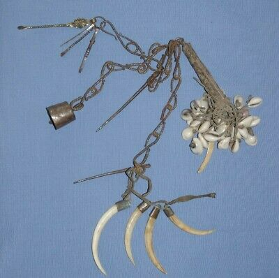 Antique African Tribal Iron Chain Boars Tusk - Chatelaine Tools Cowrie Shell
